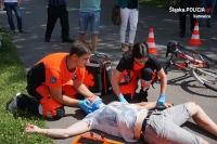 Wypadek drogowy z udziałem rowerzysty (symulacja)