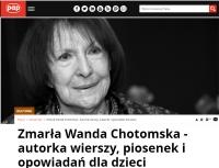 """Gdy zamierzasz przejść ulicę"""". Zmarła Wanda Chotomska"""