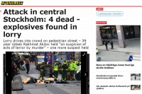"""""""Aftonbladet"""" – """"Attack in central Stockholm: 4 dead – exposives found in lorry"""""""