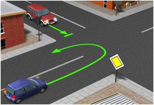 Rys. 1. Droga z pierwszeństwem przejazdu jest drogą jednojezdniową.