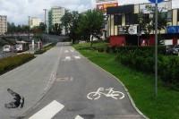 Droga dla rowerów i pieszych; według wskazań znaku- w tym przypadku po lewej piesi,po prawej rowerzyści.