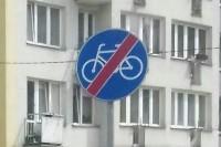 Znak drogowy - Koniec drogi dla rowerów