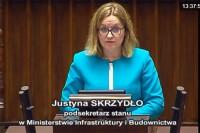 Sejm RP 28.9.2017 r. Justyna Skrzydło, podsekretarz stanu w Ministerstwie Infrastruktury i Budownictwa