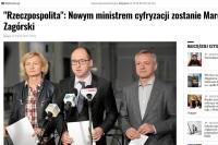 """""""Gazeta Wyborcza"""" - """"Rzeczpospolita"""": Nowym ministrem cyfryzacji zostanie Marek Zagórski"""" (29.3.2018)"""