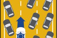 Trzy pasy ruchu w tym samym kierunku: na lewym pasie dokręć jak najdalej w lewo. Na środkowym pasie i na prawym pasie dokręć jak najdalej w prawo - w tym na pas awaryjny.