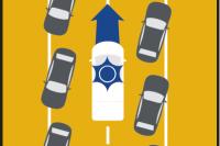 W aglomeracji: na jednym pasie w każdym kierunku, dokręć jak najdalej w prawo.