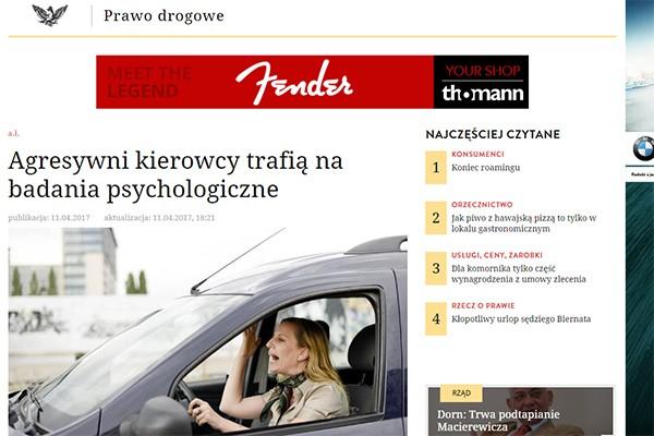 Agresywny kierowca zagrożeniem w ruchu drogowym
