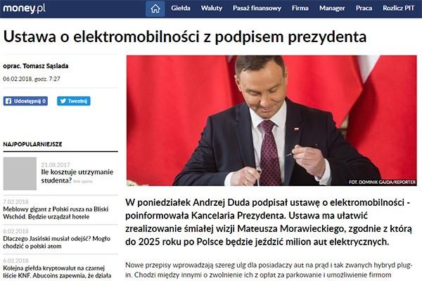 Prezydent podpisał także ustawę o elektromobilności