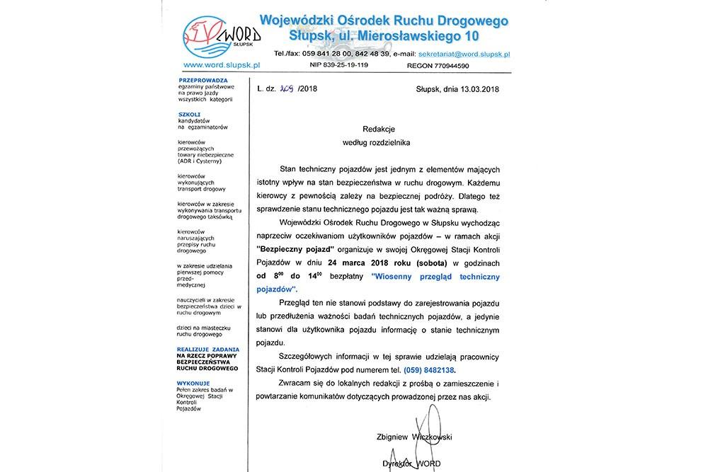 Wiosenny przegląd techniczny pojazdów. Zaproszenie WORD Słupsk