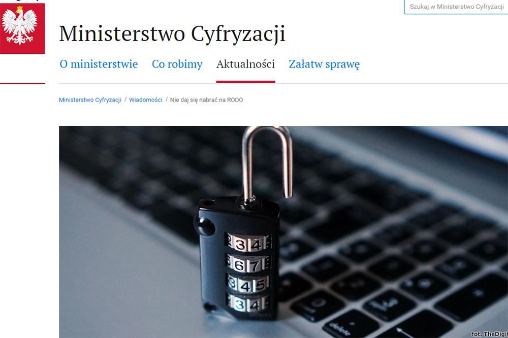 Ministerstwo Cyfryzacji ostrzega, nie daj się nabrać na RODO