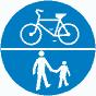 Droga dla pieszych i rowerzystów na znakach drogowych