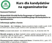 WORD Częstochowa organizuje kurs dla kandydatów na egzaminatorów