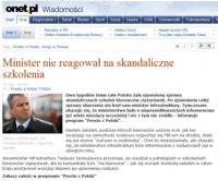 """Onet.pl: """"Minister nie reagował na skandaliczne szkolenia"""""""