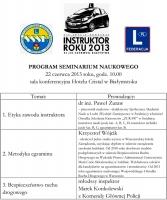 INSTRUKTOR ROKU 2013 - program seminarium