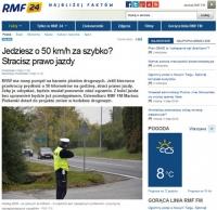 Przy przekroczeniu prędkości o 50 km/godz. utrata prawa jazdy