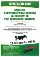 Zaproszenie dla konwojentów i kierowców transportujących zwierzęta