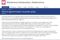 Ministerstwo Infrastruktury i Budownictwa: Można egzaminować na prawo jazdy